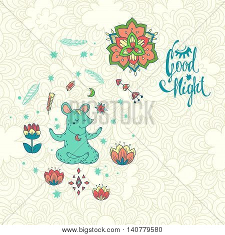 Good night. vector illustration with mouse wizard on wonderful glade