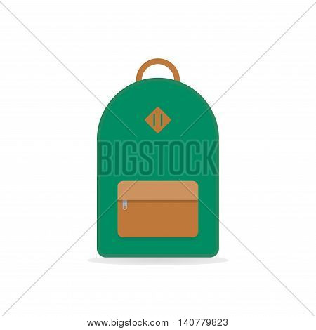 Green backpack. School backpack. Backpack isolated on white background