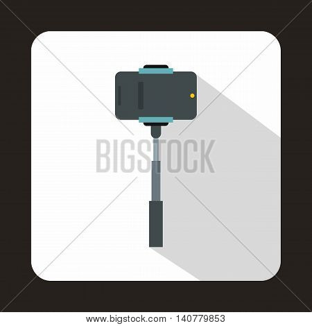 Mobile phone on a selfie stick icon in flat style with long shadow. Device symbol