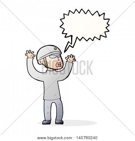cartoon security man panicking with speech bubble