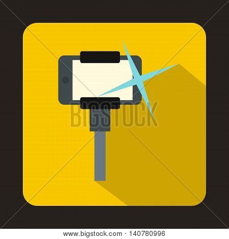 Taking pictures on smartphone on selfie stick icon in flat style with long shadow. Device symbol