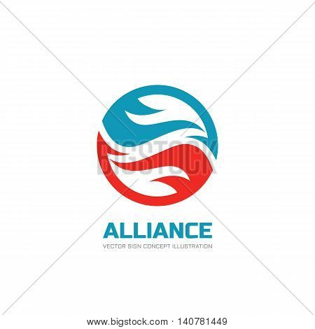 Alliance - vector logo template concept illustration. Abstract shapes in circle. Creative design element.