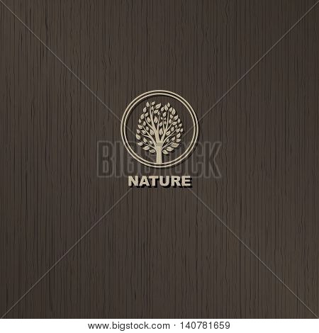 vector tree logo on brown wood background