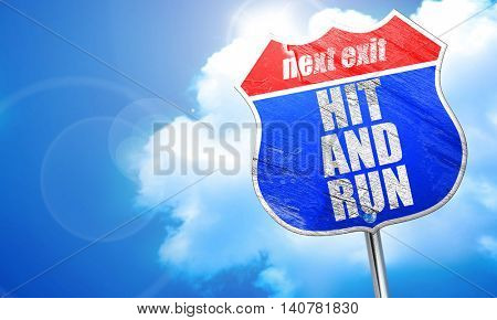 hit and run, 3D rendering, blue street sign