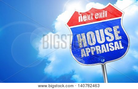 house appraisal, 3D rendering, blue street sign