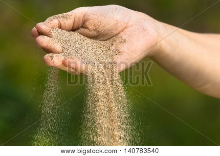 sand running through hands on green blurred background