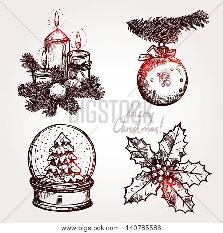 Christmas Set With Holiday Objects. Snowglobe, Holly, Christmas Ball And Candles