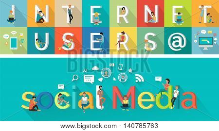 Social media vector concept. Flat design. Internet users characters illustration in poses with computers and mobile devices. Network icons. People communication picture for infographics, web design,