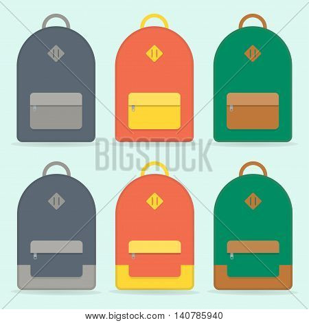 Street backpack. School backpack. Red, blue, green backpack isolated on blue background. Backpack set