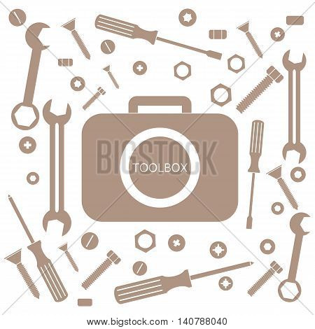 Nice picture of a colored bag with a variety of tools for quick repairs on a white background, vector