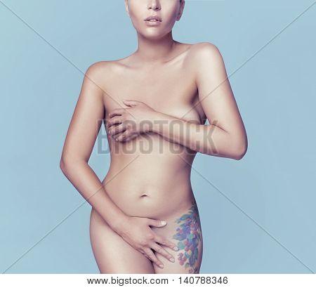 Fashion Studio Photo Of Elegant Naked Lady