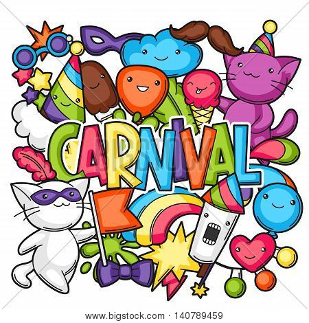 Carnival party kawaii print. Cute cats, decorations for celebration, objects and symbols. poster