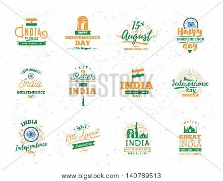 India Independence day, 15th august. Vector typographic emblems, logo or badges. Usable for greeting cards, print, t-shirts, posters and banners.