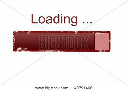 grunge Loading bar icon, red grunge loading bar