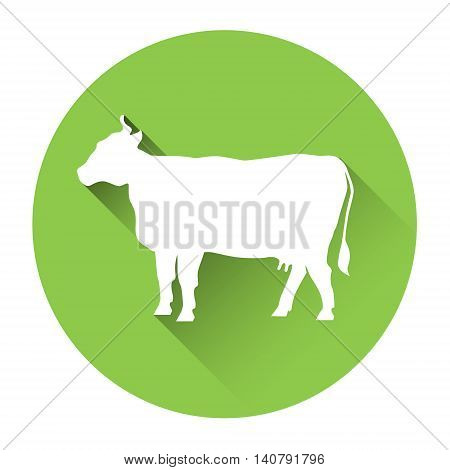 Cow Farm Animal Silhouette Icon Flat Vector Illustration