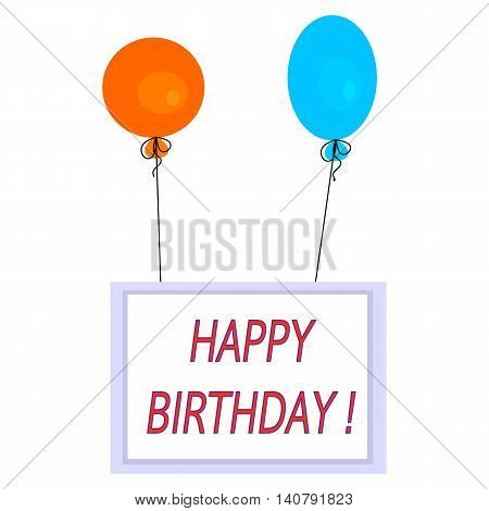 Simple square celebration card with hot air balloons and inscription