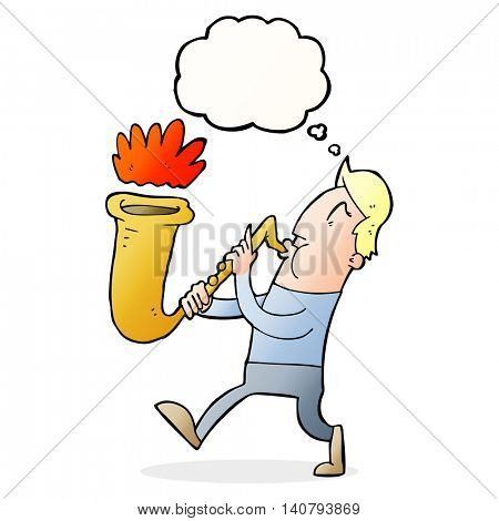 cartoon man blowing saxophone with thought bubble