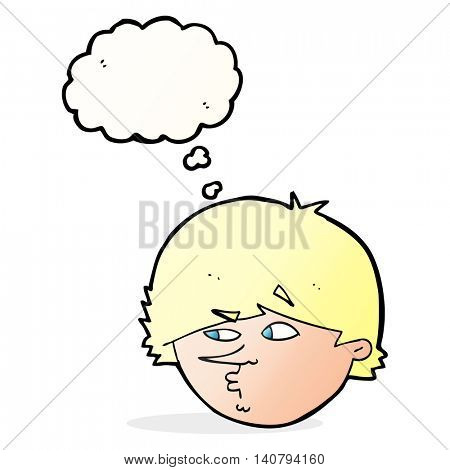 cartoon suspicious man with thought bubble
