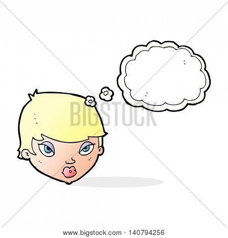 cartoon unimpressed woman with thought bubble