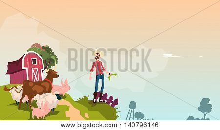 Farmer Breeding Animals Farmland Background Flat Vector Illustration