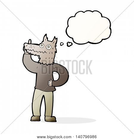 cartoon werewolf with idea with thought bubble