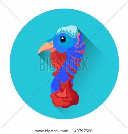 Turkey Head Bird Poultry Icon Flat Vector Illustration