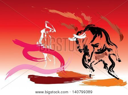 The Spanish bullfighter in a bullring with a bull