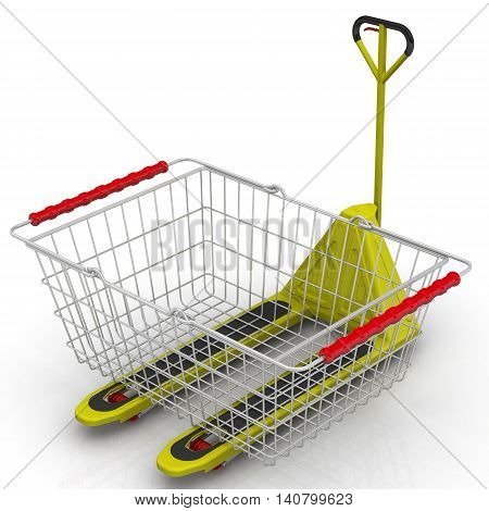 Delivery of purchases. Shopping basket is on the pallet jack. Isolated. 3D Illustration