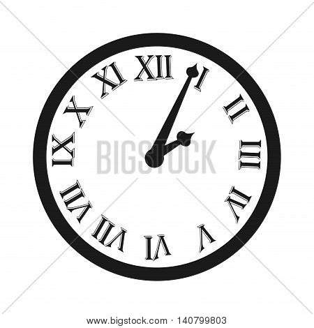 clock time watch roman numbes icon vector illustration design