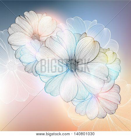 Abstract floral background. Vector flower dahlia. Element for design. Vector illustration.