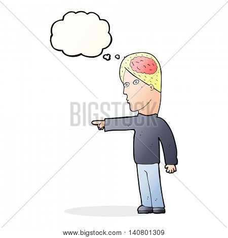 cartoon clever man pointing with thought bubble poster