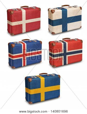 Vintage suitcase flags Denmark Finland Iceland Norway Sweden isolated