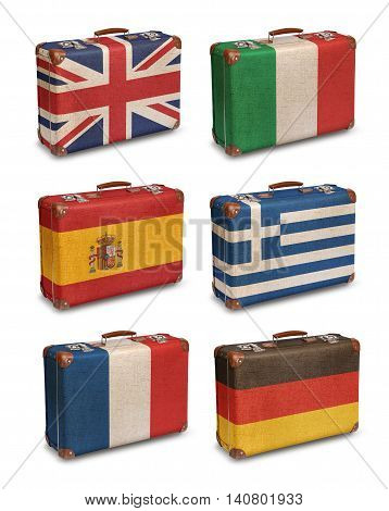 Vintage suitcase flags UK Italy Spain Greece France Germany isolated