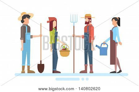 Group Of Farmers Hold Farming Equipment Country Man And Woman Flat Vector Illustration