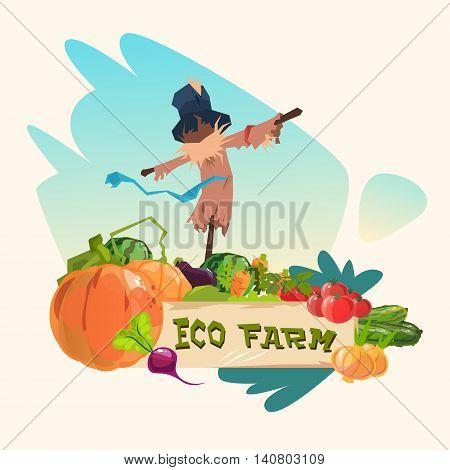 Scarecrow On Vegetable Field Eco Farming Logo Concept Flat Vector Illustration