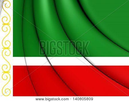 Flag Of Chechen Republic, Russia. 3D Illustration.