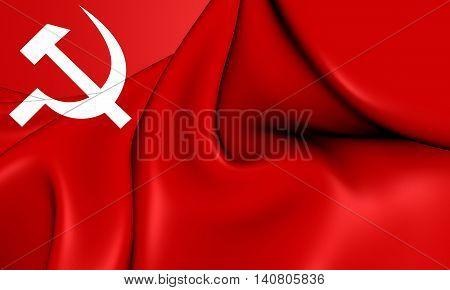 Communist Party Of Nepal Flag. 3D Illustration.