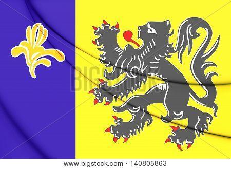 Flag Of Flemish Community Commission. 3D Illustration.