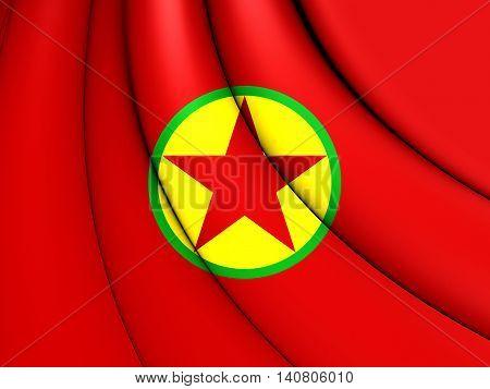 Flag Of Kurdistan Workers' Party. 3D Illustration.