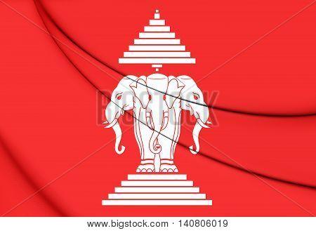 Kingdom Of Laos Flag (1952-1975). 3D Illustration.