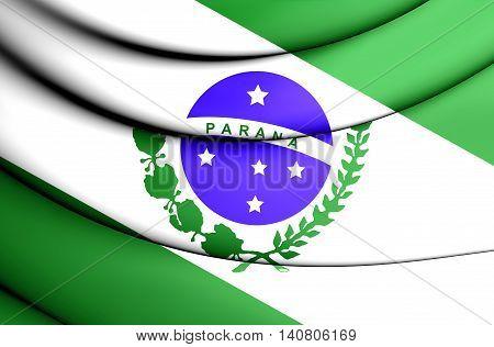 Flag of Parana Brazil. 3D Illustration. Close Up.