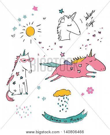 unicorn collection illustration vector