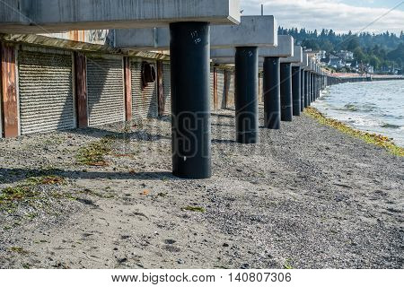 A view of a walkway that is under constrtuction at Redondo Beach Washington.