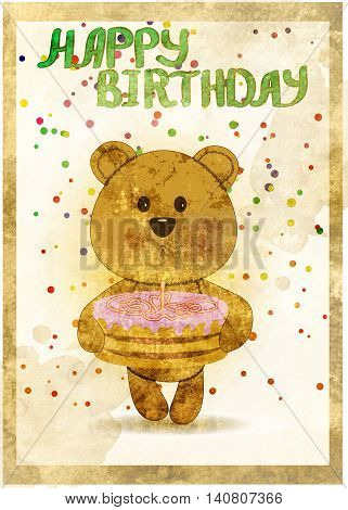 Happy birthday card with fun bear and cake in grunge style