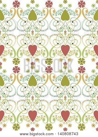 Retro hearts valentines day ornament seamless pattern on white background