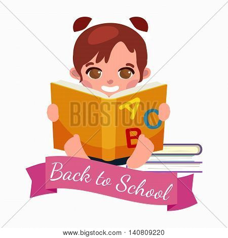 little girl with school books and notebooks learning with smile, back to school concept vector illustration