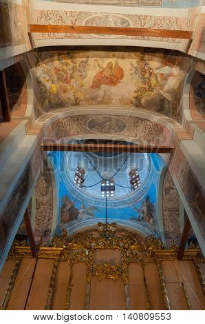 VELIKY NOVGOROD RUSSIA-JULY 15 2016. Architecture decorated arched ceiling with colorful paintings of Bible scenes and choirs in the interior of St Nicholas Cathedral. Soft focus applied
