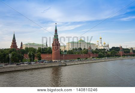 MOSCOW - JULY 04: Panorama of Moscow Kremlin and historical centre of city on July 04 2013 Moscow Russia. Moscow Kremlin is a popular touristic landmark and UNESCO World Heritage Site
