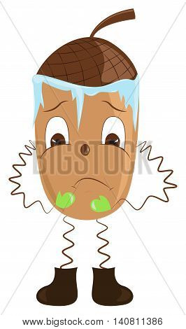 Cartoon acorn shivering from the cold. Vector illustration