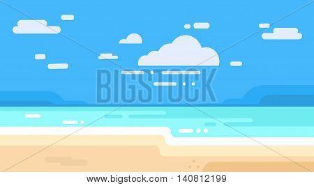 Sea Shore Sand Beach Summer Vacation Blue Sky Flat Vector illustration